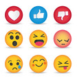 set emoticon social media reactions vector image vector image