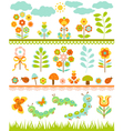 Set of floral border vector image