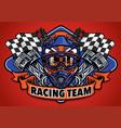 skull wearing motocross helmet racing team vector image vector image