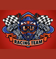 skull wearing motocross helmet racing team vector image