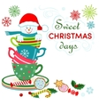 Snowman in rainbow colored cups vector image vector image