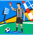 soccer referee showing red card football world vector image vector image
