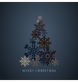 Stylized snowflakes Christmas tree silhouette vector image vector image