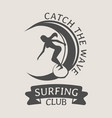 surfing club logo or symbol design with woman vector image vector image