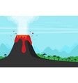 volcano eruption flat design style vector image