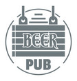 wood board beer pub logo simple gray style vector image vector image