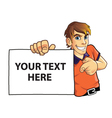 Young Man Holding Board vector image vector image
