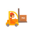 yellow forklift truck with box of milk dairy vector image