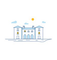 town building view thin line linear house vector image