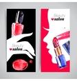 Watercolor cosmetics banner set vector image