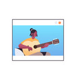 african american woman playing guitar in web vector image