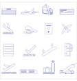 airport and airplane simple outline icons set vector image