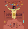 boho party poster vector image vector image