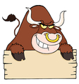 Brown Bull And Blank Sign vector image vector image