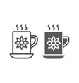 cocoa cup line and glyph icon sweet and drink vector image vector image