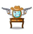 cowboy dressing table character cartoon vector image