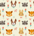 Cute seamless pattern with animals and flowers vector image vector image