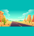 desert landscape with road cactuses and rocks vector image