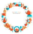 Dinner Restaurant and Eating Icons Wreath vector image