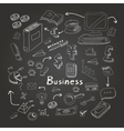 Doodle business diagrams set on blackboard vector image vector image