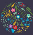 embroidery round pattern with forest plants vector image vector image
