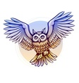 Flying cartoon owl with color vector image