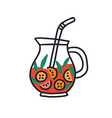 glass jug with fruit lemonade red drink with mint vector image