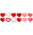 heart shapes in different styles vector image vector image