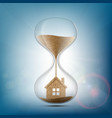 hourglass with the house inside stock vector image vector image