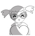 line pretty girl with heart and glasses vector image vector image
