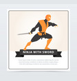 ninja with sword japanese martial arts fighter vector image vector image