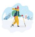 nordic walking woman winter vector image vector image