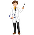 Ophthalmologist holding file and stick vector image vector image