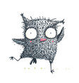 owl kids character cute dancing showing running vector image vector image
