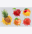 pineapple strawberry apple cherry mango juice vector image vector image