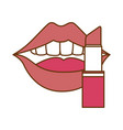 pop art lips with lipstick vector image vector image