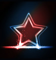 Red blue white glowing frame shaped as a star vector image vector image