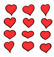 set of hand drawn sketch hearts grunge vector image