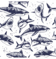 sharks seamless pattern hand drawn underwater sea vector image vector image