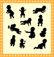 Silhouette of baby vector image