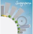 Singapore skyline with grey landmarks vector image vector image