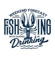 summer holiday t-shirt print fishing and drinking vector image vector image