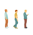 three men in modern clothes in full growth stand vector image vector image