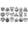 vintage monochrome cannabis labels set vector image vector image
