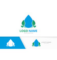 water droplet and leaves logo unique clean aqua vector image vector image
