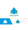 water droplet and leaves logo unique clean aqua