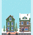 winter view buildings poster vector image vector image