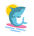 with surfer shark on surfboard vector image