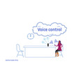 woman using smart speaker personal assistant voice vector image