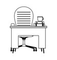 workspace desk chair coffee cup and books isolated vector image vector image